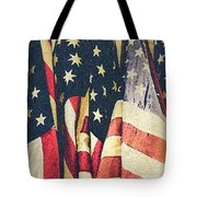 American Flags Painted Square Format Tote Bag