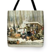American Forest Scene Maple Sugaring Tote Bag