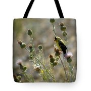 American Goldfinch Having Lunch On Bakery Hill 2 Tote Bag