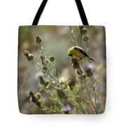 American Goldfinch Having Lunch On Bakery Hill Tote Bag