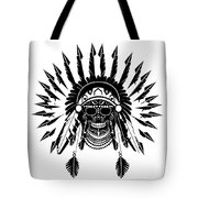 American Indian Skull Icon Background, Black And White  Tote Bag