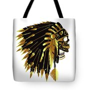 American Indian Skull Icon Background Tote Bag