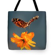 American Lady Butterfly Lands On Cosmos Flower Tote Bag