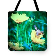American Lady On Coreopsis Tote Bag