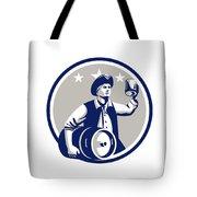 American Patriot Carry Beer Keg Circle Retro Tote Bag