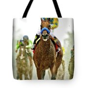 American Pharoah And Victor Espinoza Win The 2015 Preakness Stakes. Tote Bag