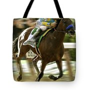 American Pharoah And Victory Espinoza Win The 2015 Belmont Stakes Tote Bag