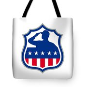 American Soldier Saluting Usa Flag Crest Icon Tote Bag