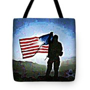 American Soldier With Flag Tote Bag