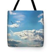 American White Pelicans Flying Tote Bag