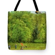 Americana - People - Let's Go Fly A Kite Tote Bag by Mike Savad
