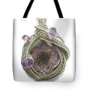 Amethyst Stalactite Slice Druzy Wire-wrapped Pendant In Tarnish-resistant Sterling Silver Tote Bag