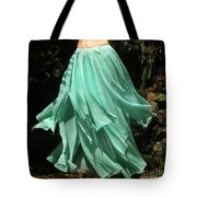 Ameynra Design Aqua-green Chiffon Skirt Tote Bag