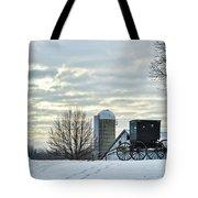 Amish Buggy At Morning Tote Bag