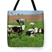Amish Farm With Spotted Cows And Cattle In A Field Tote Bag