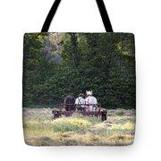 Amish Farmer Raking Hay At Dusk Tote Bag
