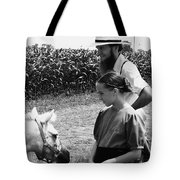 Amish Girl And Pony Tote Bag