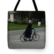 Amish Girl Going To Work Tote Bag