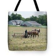 Amish Girl Raking Hay Photo Tote Bag