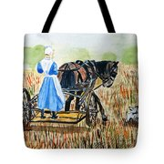 Amish Girl With Buggy Tote Bag