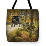 Amish Horse And Buggy Crossing A Bridge Tote Bag