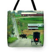 Amish Horse And Buggy Farm Tote Bag