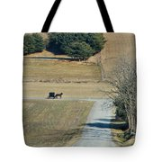 Amish Horse And Buggy On A Country Road Tote Bag