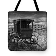 Amish Horse Buggy In Black And White Tote Bag