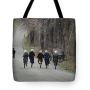 Amish People Visiting Middle Creek Tote Bag
