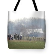 Amish Youth Gather After A Volleyball Game Tote Bag