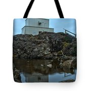 Amphitrite Point Lighthouse Reflections Tote Bag