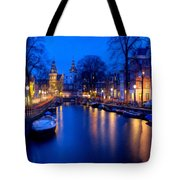 Amsterdam - A Canal Scene At Night . L B Tote Bag