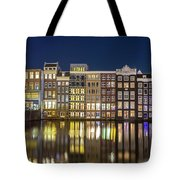 Amsterdam Canal Houses At Night Tote Bag