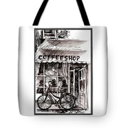 Amsterdam Coffe Shop Black And White Tote Bag