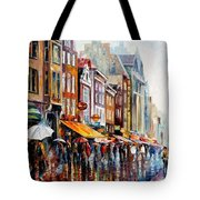 Amsterdam Rain - Palette Knife Oil Painting On Canvas By Leonid Afremov Tote Bag