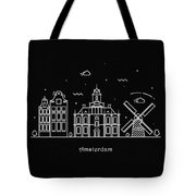 Amsterdam Skyline Travel Poster Tote Bag