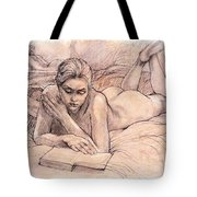 Amy Reading Tote Bag by Roz McQuillan