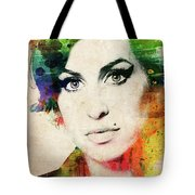 Amy Winehouse Colorful Portrait Tote Bag