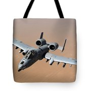 An A-10 Thunderbolt II Over The Skies Tote Bag