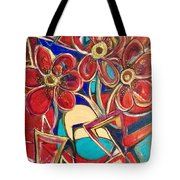 An Abstract Floral Tote Bag