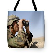 An Afghan Commando Scans The Horizon Tote Bag