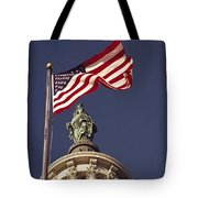 An American Flag And The Statue Tote Bag