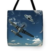 An American P-51 Mustang Gives Chase Tote Bag by Mark Stevenson