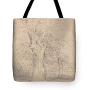 An Ancient Tree With Figures In A Landscape Tote Bag