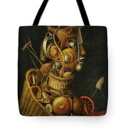 An Anthropomorphic Still Life With Pots Pans Cutlery A Loom And Tools Tote Bag