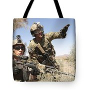 An Army Soldier Informs A Marine Tote Bag