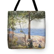 An Artist Painting By The Sea Tote Bag
