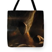 An Asteroid Field Next To An Earth-like Tote Bag