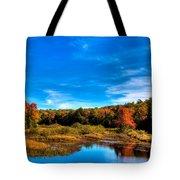 An Autumn Day At The Green Bridge Tote Bag