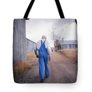 An Elderly Farmer In Overalls Walks Tote Bag